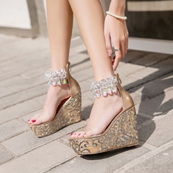 Sequin Platform Open Toe Wedge Sandals