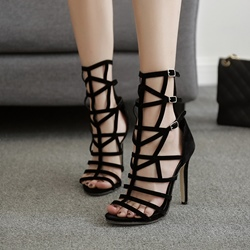 Elegant Black Stiletto Heel Dress Sandals
