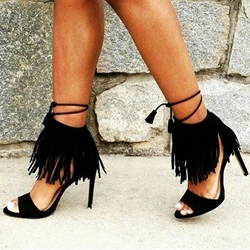 Black Fringe Lace-Up Stiletto Heel Dress Sandals