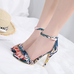 Open Toe Plant Print Stiletto Heel Dress Sandals