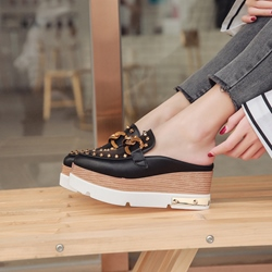 Rivet Black Platform Slip-On Mules