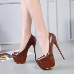 Brown Plain Platform Stiletto Heels