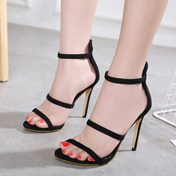 Simple Black Stiletto Heel Dress Sandals