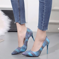 Stripe Slip-On Stiletto Heel Pumps