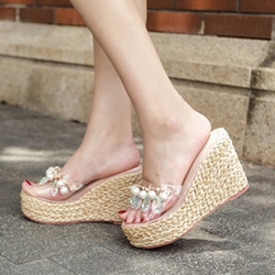 Beads Rhinestone Jelly Wedge Heel Mules