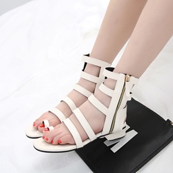 Strappy Block Heel Plain Sandals
