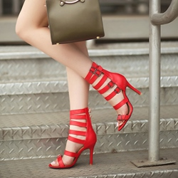 Plain Buckle Stiletto Heel Sandals
