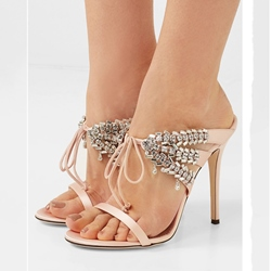 Rhinestone Lace-Up Stiletto Heel Slip-On Dress Sandals