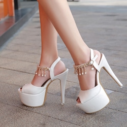 Plain Beads Stiletto Heel Sandals
