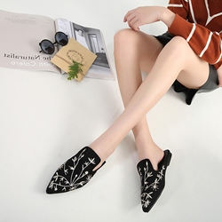 Black Embroidery Block Heel Mules