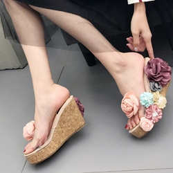 Summer Floral Wedge Heel Sandals Flip Flop Slip-On