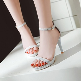 Line-Style Buckle Platform Stiletto Heel Sandals