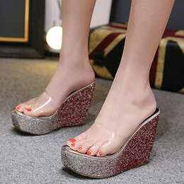 Sequin Jelly Platform Wedge Heel Mules