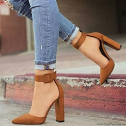 Solid Color Line-Style Buckle Chunky Heels