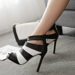 Color Block Peep Toe Stiletto Heels