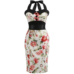 Lace-Up Button Print Sleeveless Bodycon Dresses