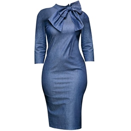 Stand Collar Bodycon Dresses Bowknot Three-Quarter Sleeve
