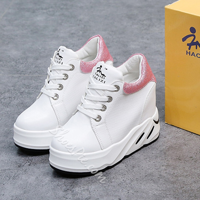 Lace-Up Hidden Elevator Heel Sneakers