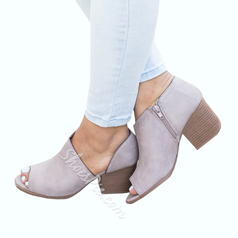 Casual Peep Toe Chunky Heel Dress Sandals