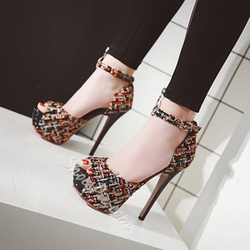 Peep Toe Platform Plaid Stiletto Heels