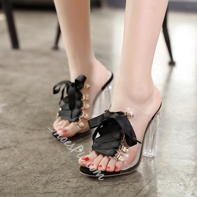Lace-Up Chunky Heel Mules