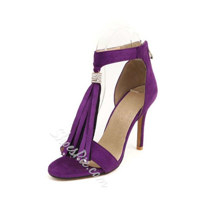 Plain Fringe Heel Covering Sandals
