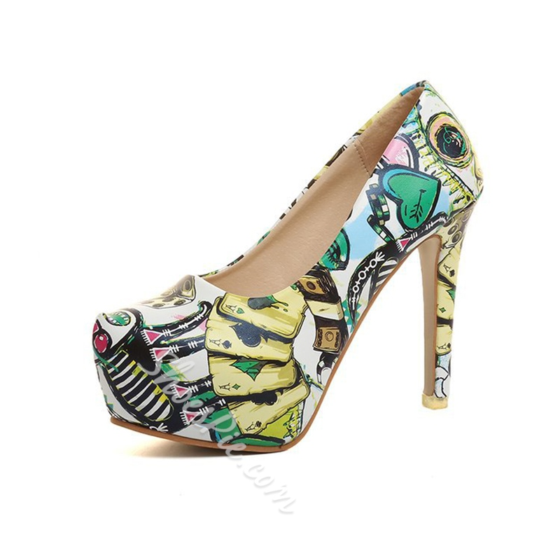 Print Platform Slip-On Stiletto Heels