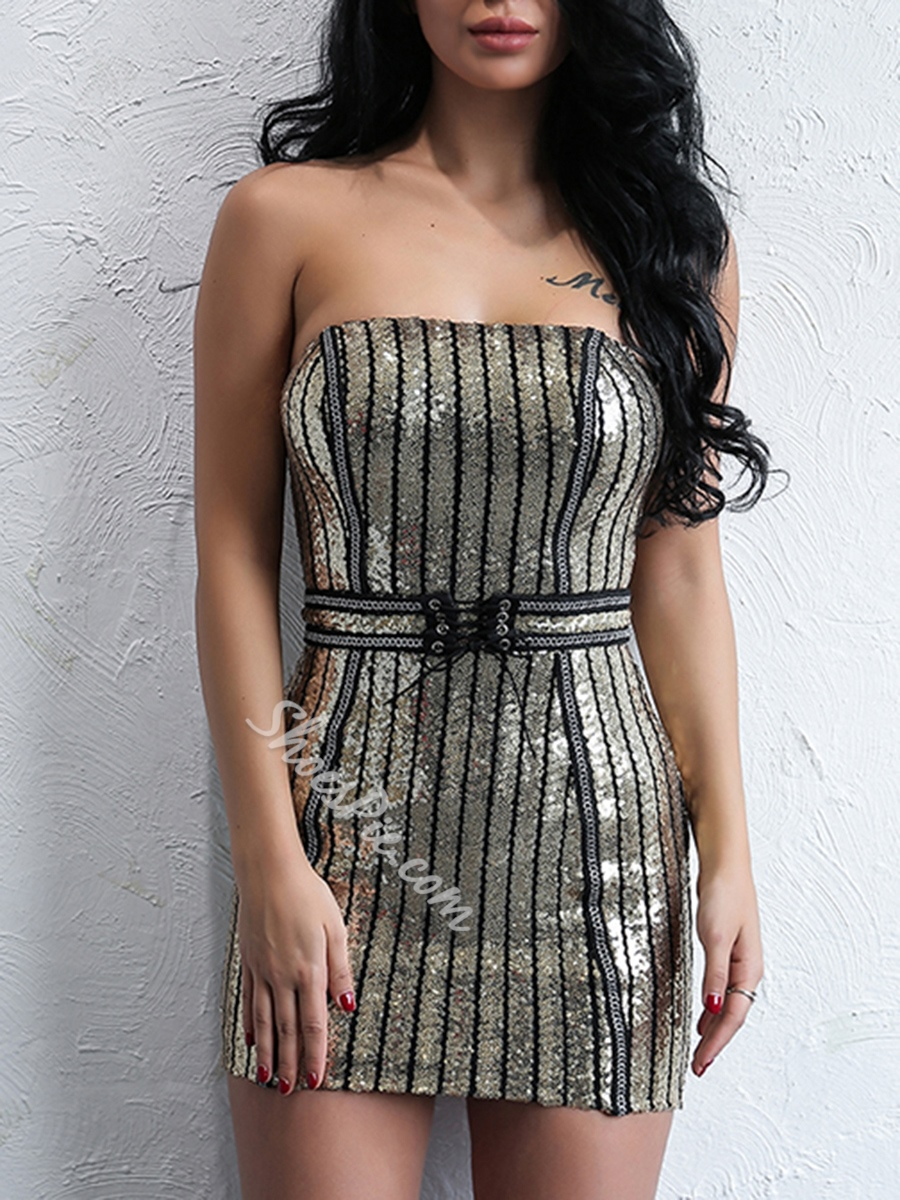 Sequins Zipper Lace-Up Strapless Bodycon Dresses