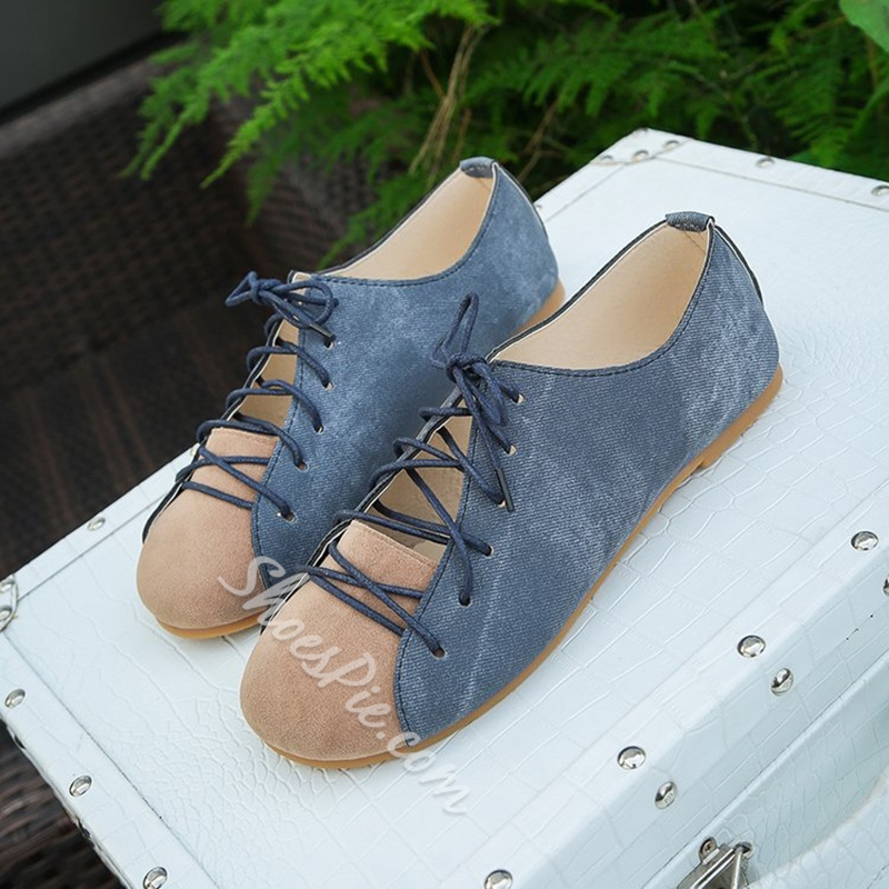 Color Block Round Toe Women's Shoes