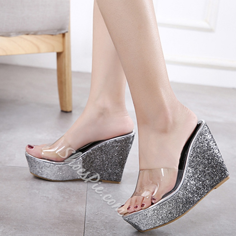 a661c6f788a Sequin Jelly Platform Wedge Heel Mules- Shoespie.com