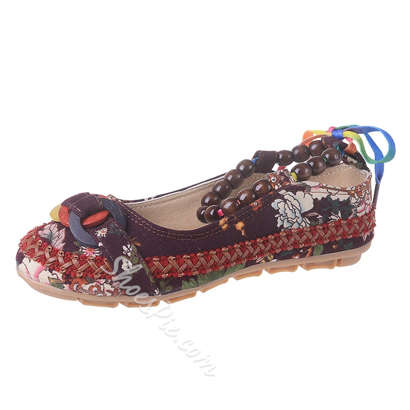 Floral Lace-Up Round Toe Women's Shoes