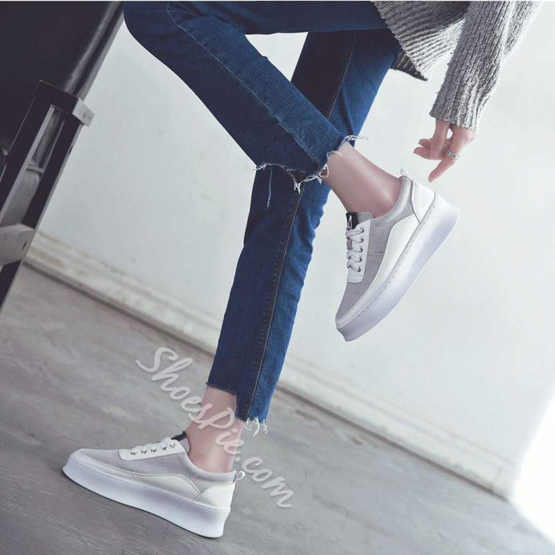 Lace-Up Plain Women's Sneakers