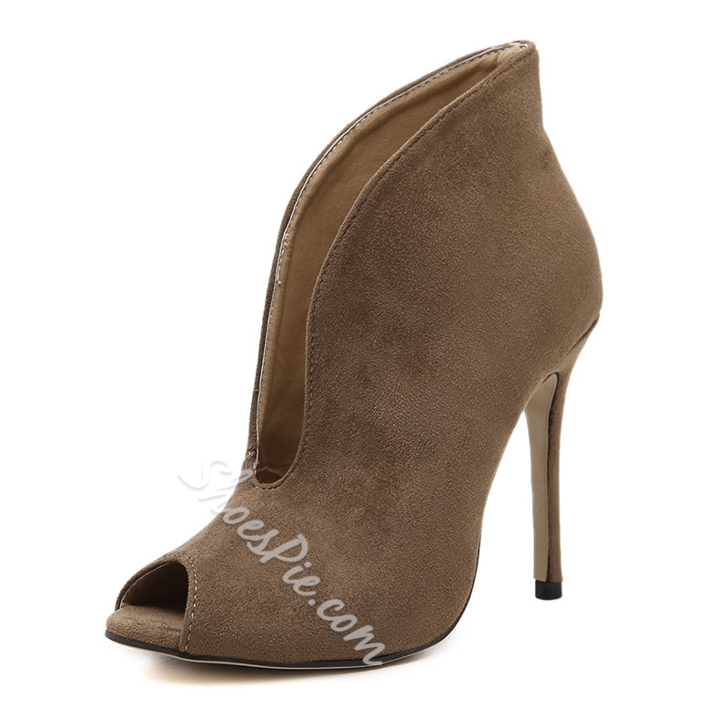 Plain Hollow Peep Toe Stiletto Heels