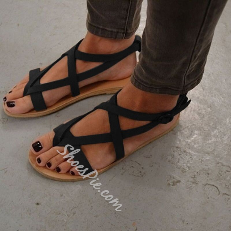 Summer Block Heel Open Toe Strappy Flat Sandals