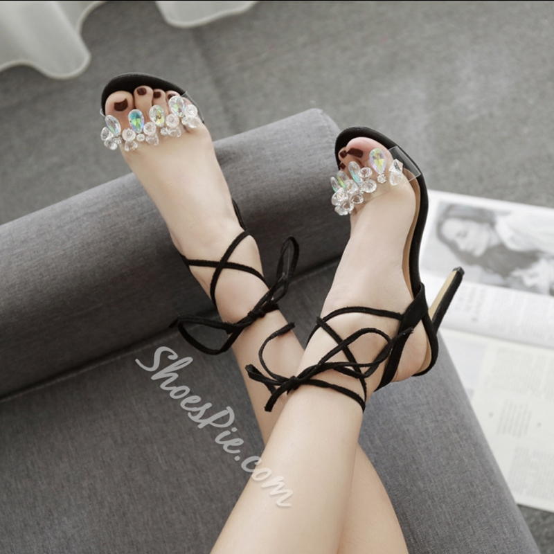 Lace-Up Rhinestone Ankle Strap Stiletto Heels Dress Sandals