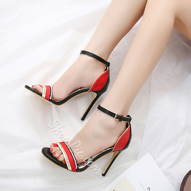Open Toe Stiletto Heels Rhinestone Dress Sandals