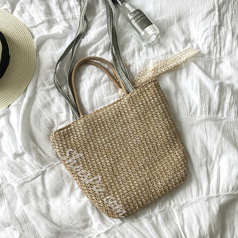 Shoespie Summer Concise Knitted Straw Handbag