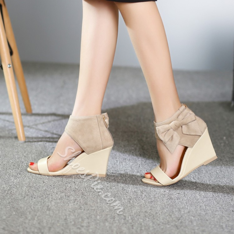 Wedge Heel Bow Open Toe Dress Sandals