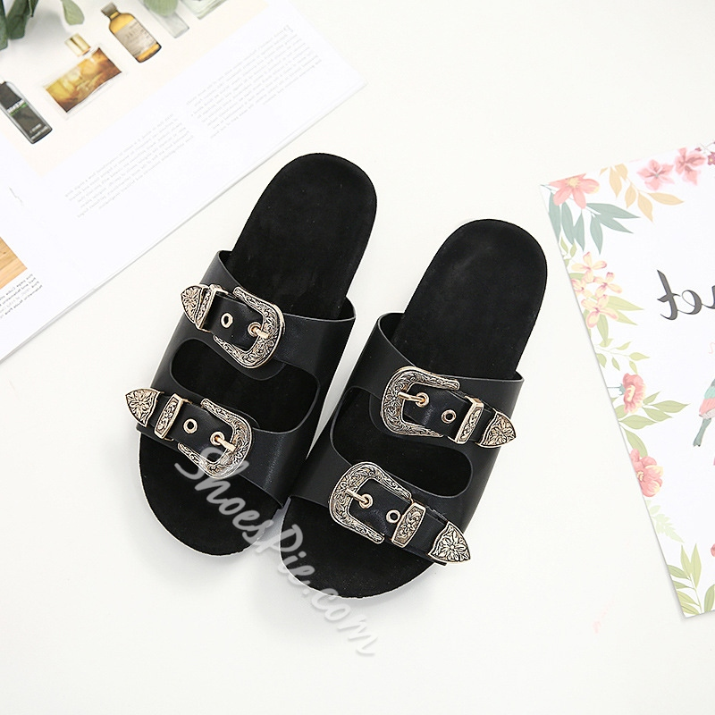 Buckle Slip-On Women's Flat Sandals