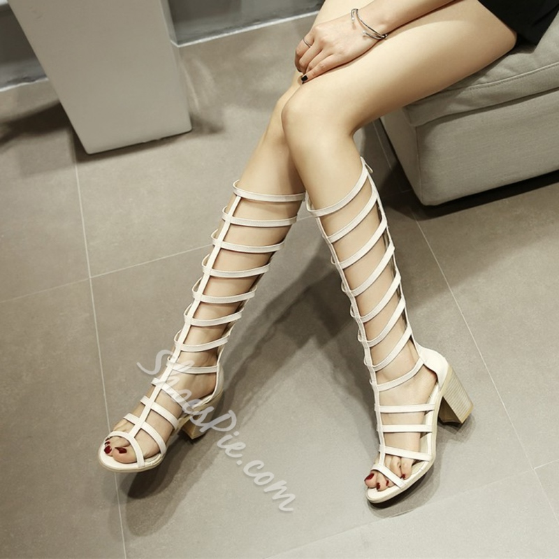 High Shaft Chunky Heel Dress Sandals