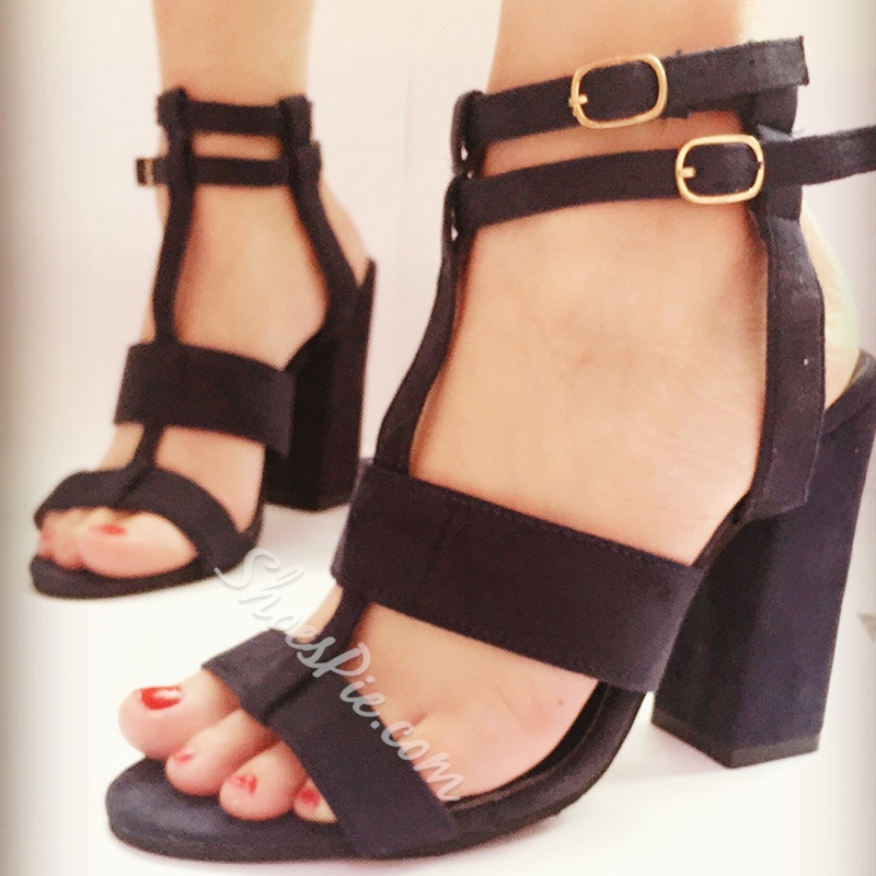Chunky Heel Strappy Open Toe Dress Sandals