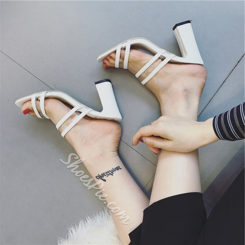 Jelly Plain Strappy High Heel Mules
