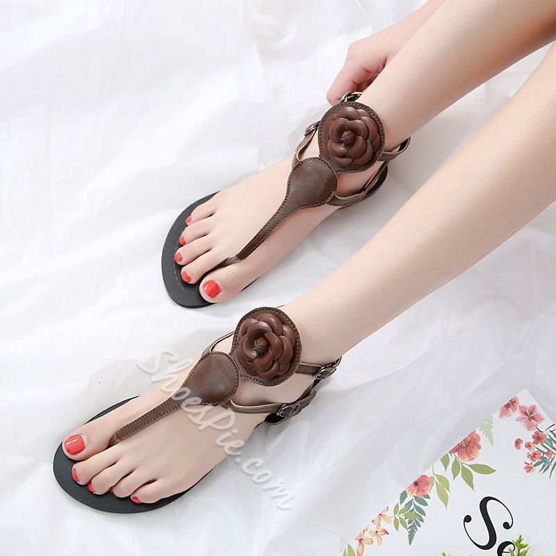 Floral Strappy Buckle Flat Sandals