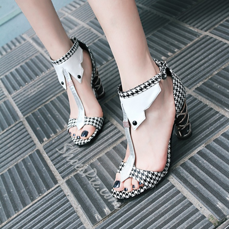T-Shaped Buckle Chunky Heel Sandals