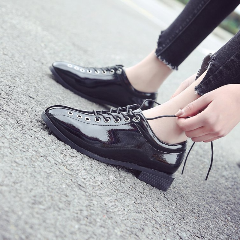 Block Heel Lace-Up Women's Shoes