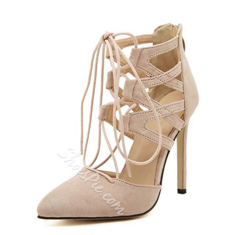 Cross Strap Plain Zipper Stiletto Heels
