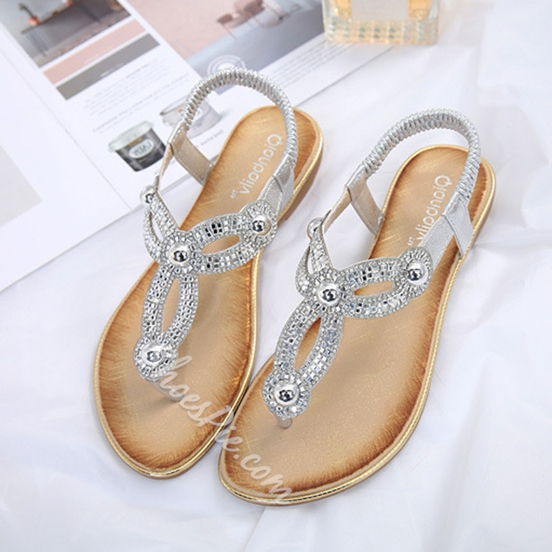 Rhinestone Slip-On Block Heel Sandals