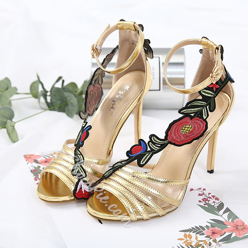 Stiletto Heel Floral Appliques Dress Sandals