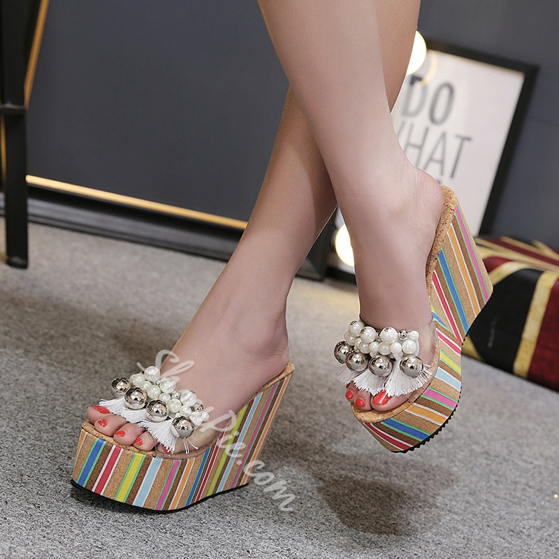 Beads Fringe Platform Wedge Heel Sandals