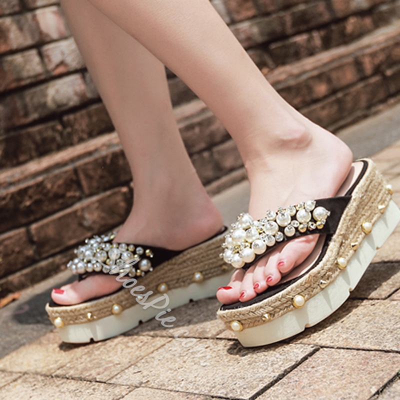 Rhinestone Rivet Wedge Heel Sandals